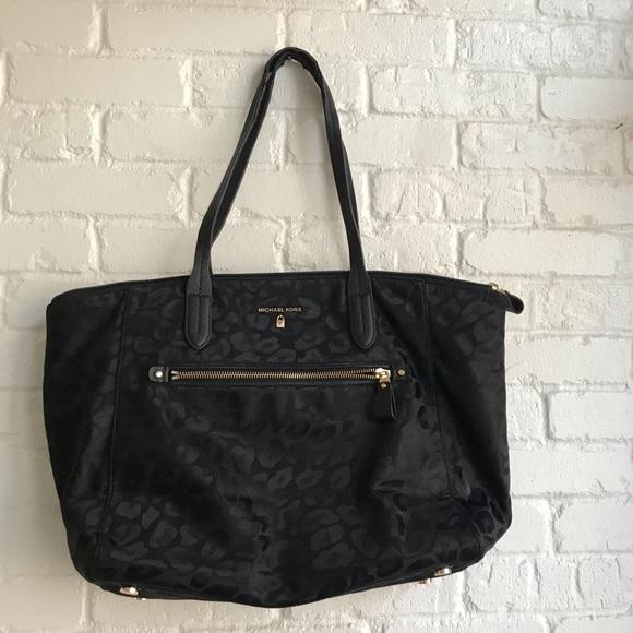 Michael Kors Handbags - Michael Kors Kelsey black animal print tote bag